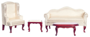 03160 - Queen Ann LIVING ROOM SET/4- WHITE