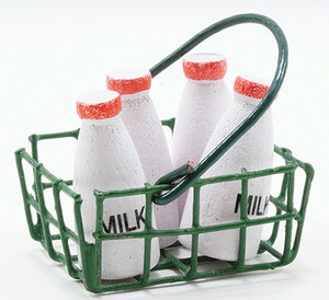 IM65030 - Milk Bottles In Green Basket, 5pc