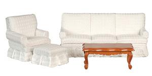 T6663 - Living Room Set/4 White - Mahogany Coffee Table