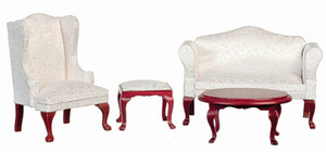 03161 - Living Room Set - White & Mahogany