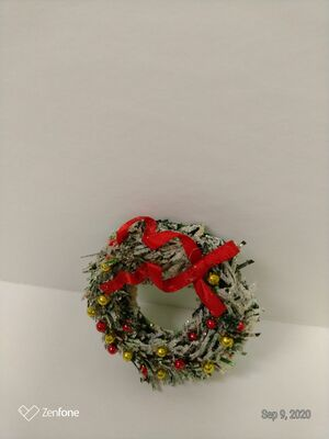 Wreath - Medium with small balls and red bow