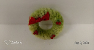 Wreath - Fuzzy Pale Green  with Berries and Bow