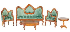 T0112 - Living Room Set/5 - Green/Walnut