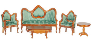 T0112 - Living Room Set/5 - Green/Walnut