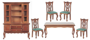 T0116 - Dining Room Set with Green Fabric on Chairs
