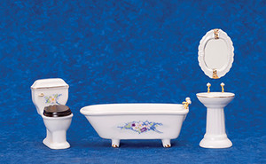 00302 - Bathroom Set/4 with Flowers