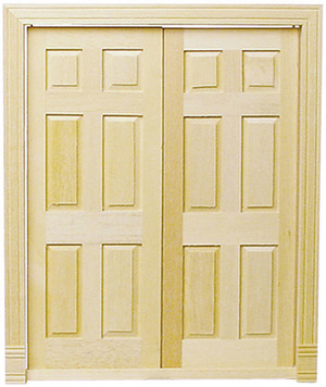 """Interior six panel doors pin hinged to operate perfectly together. Includes interior trim.  Size: 6 1/16""""W x 7 1/8""""H Fits opening: 5 11/16""""W x 7""""H x 3/8""""D"""