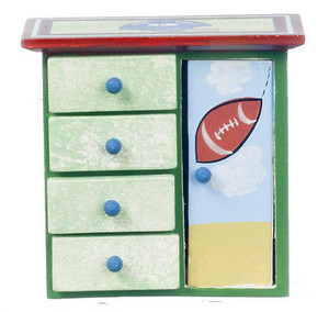 Dollhouse Miniature Child's Walnut Football Dresser - EMWF645