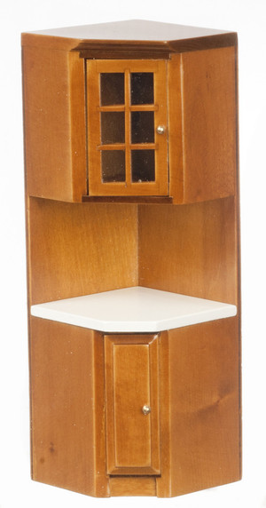 T6832 - CORNER CABINET - WALNUT with WHITE Counter