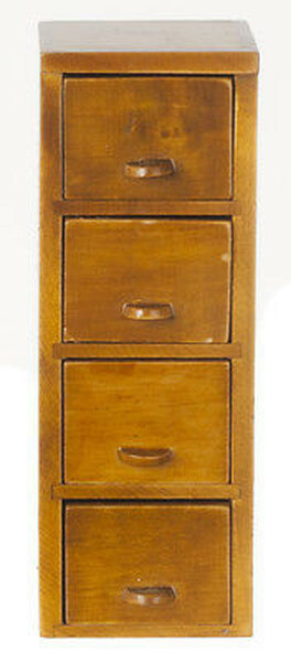 Dollhouse Miniature Filing Cabinet - 4 Drawer - Walnut
