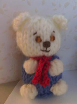 11003 - Teddy Bear - Sitting - White in Purple Outfit - OOAK