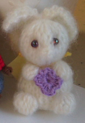 11001 - Lop Eared Bunny - White with Purple flower - OOAK