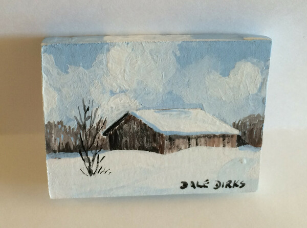 Dollhouse Miniature - 311411 - Painting - OOAK Hand Painted - Barn & Tree in Winter Canvas