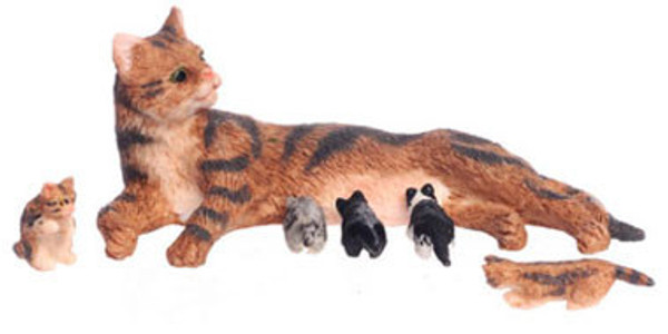 Dollhouse Miniature - 14071-2 - Mother cat with 5 kittens - FCA4137BR