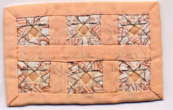 Dollhouse Miniature - ALS256 - Alice Lacy - Crib Quilt - Peach
