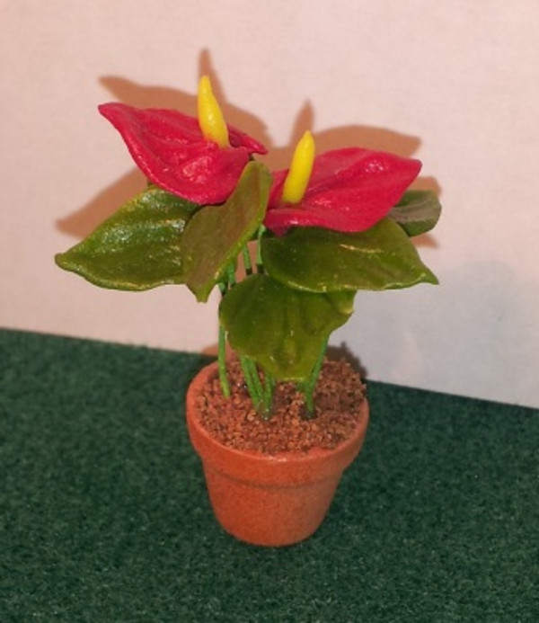 Dollhouse Miniature - 1614-2 - Flower Kit: Antherium - Red