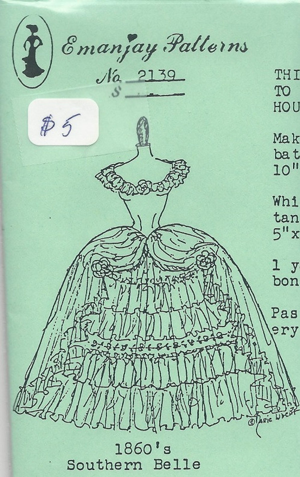 2139 - 1860's Southern Belle- Emanjay Sewing Pattern