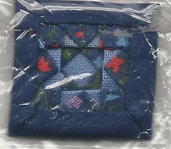 Dollhouse Miniature - ALS - Alice Lacy - Navy Quilted Cushion