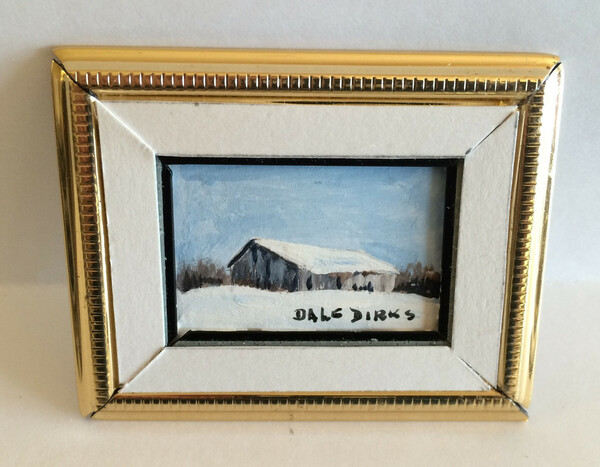Dollhouse Miniature - 311427 - Painting - OOAK Hand painted- Barn in Snow - Gold Frame