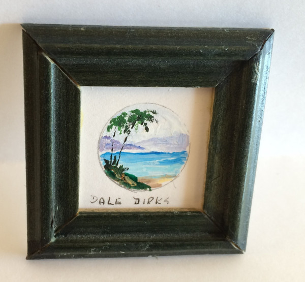 Dollhouse Miniature - 311429 - Painting - OOAK Hand Painted - Palm Trees  - Dark Green Frame