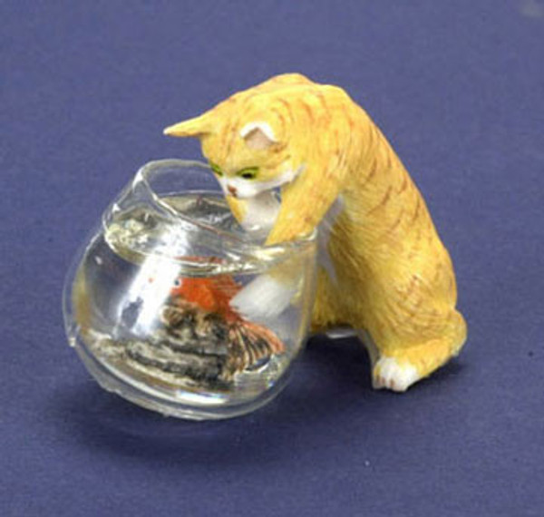Dollhouse Miniature - FCA1428OR - Orange Cat with Fishbowl