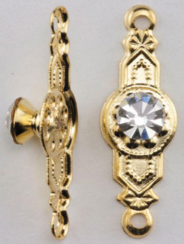 CLA05684 - Crystal Provincial Knob - Brass - 2 Piece