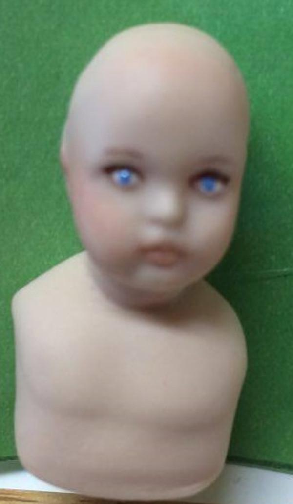 Dollhouse Miniature - Porcelain Child Doll Kit - Bettina 2 Face - Unpainted - 1:12 Scale