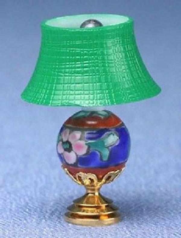 Dollhouse Miniature - MH917 - MODERN TABLE LAMP - GREEN SHADE - ORIENTAL