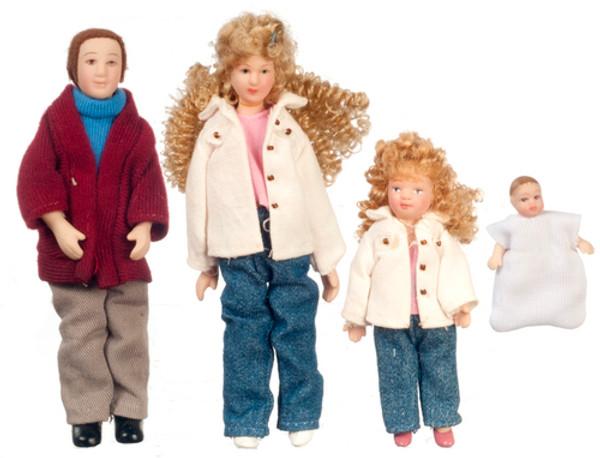 Dollhouse Miniature - G7634 - Porcelain Doll Family - Set/4 - Blonde Hair