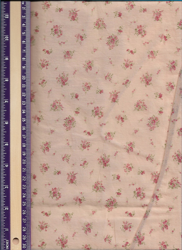 """2924 - Fabric:  Red Floral on Beige  - 10"""" x 21"""" Sevenberry"""