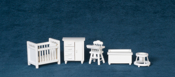 T0226 - 1:24 Scale Nursery Furniture Set - White