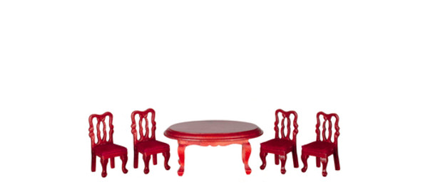 T0230A - 1:24 Scale Dining Table and Chairs - Mahogany