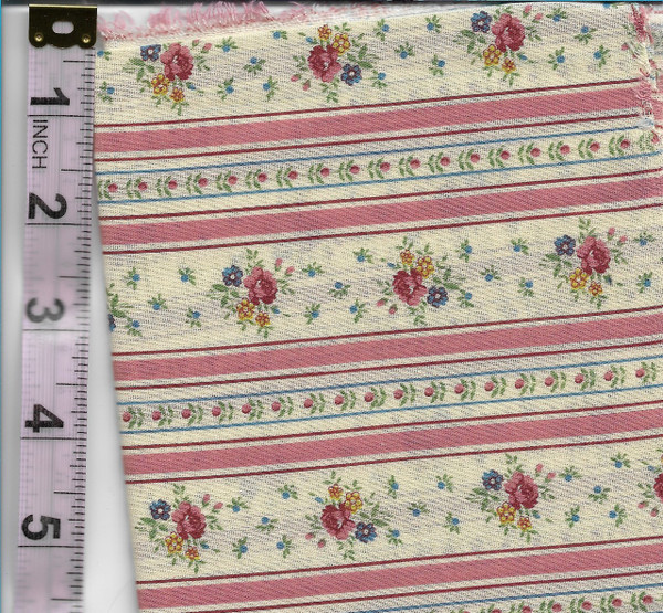 4190130 - Fabric: Cream with Pink Stripe, Pink, Blue, Yellow