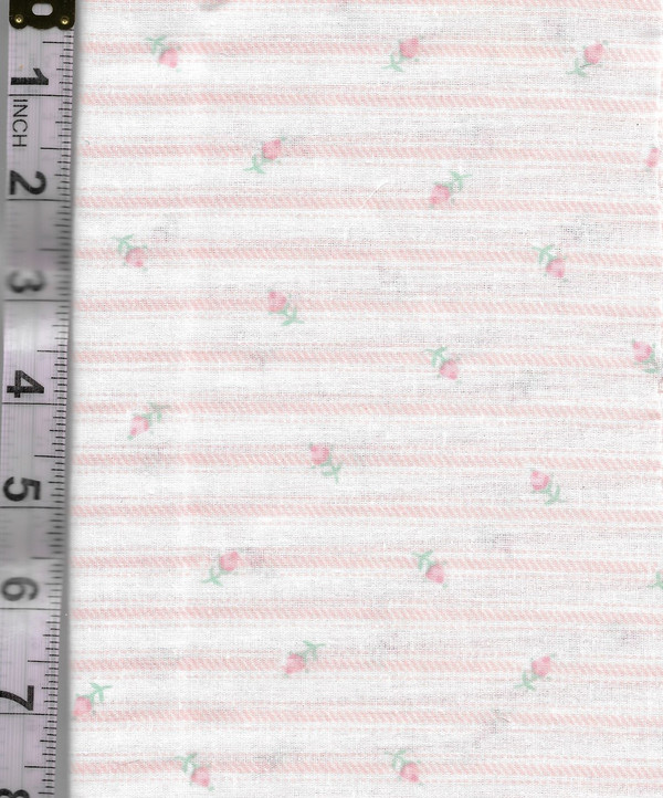 4190129 - Fabric: White with Pink Stripe, Pink Flowers