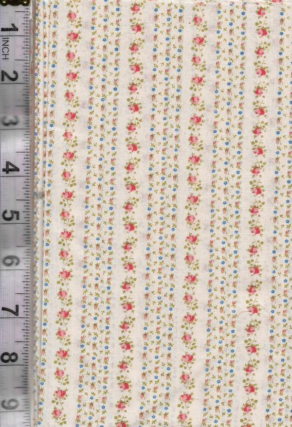4190127 - Fabric: Cream with Pink and Blue Flowers