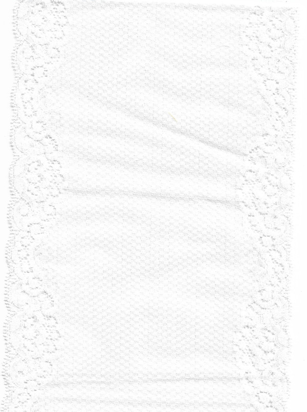 "4190116 - Fabric:  White with Floral Edges - 17-1/2"" L x 6"" W"