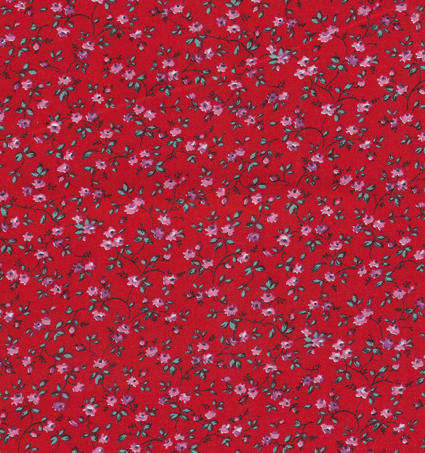 4190122 - Fabric: Red with Tiny Pink Floral Pattern