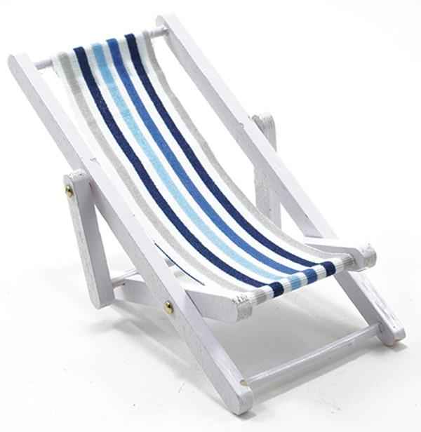 IM65338 - Beach Chair - White and Blue Fabric