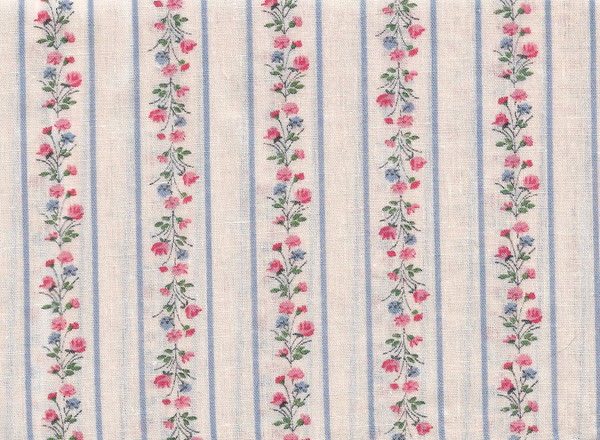 """41901281 - Fabric:  Cream with Blue and Orange Flowers - 6"""" x 11"""""""