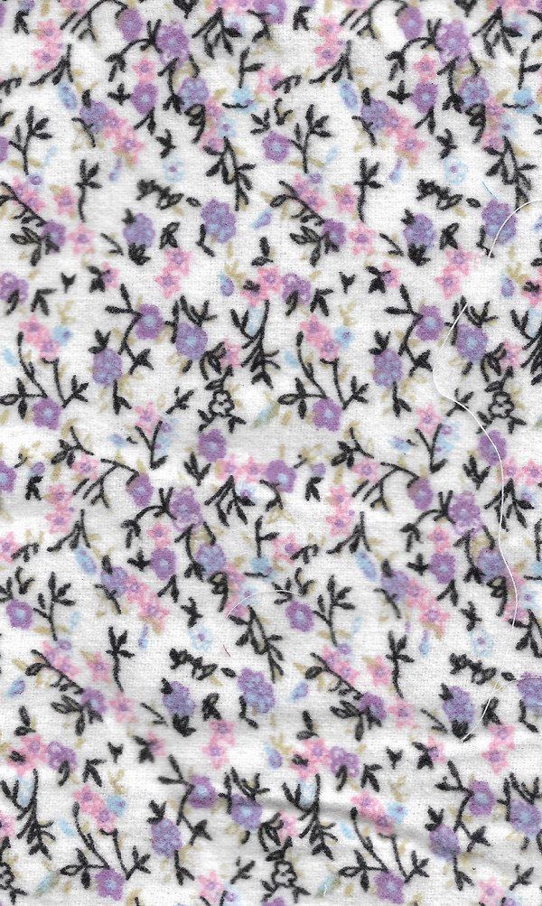 "20171161 - Fabric:  White with Purple & Pink Flowers - 6"" x 11"""