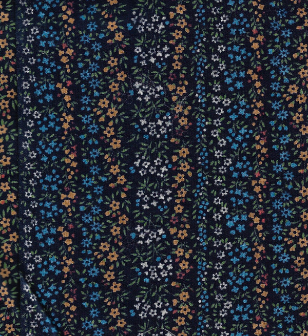 """41901221 - Fabric:  Blue with Gold Flowers - 11"""" x 11"""""""