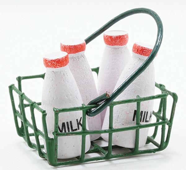 IM65030 - Milk Bottles In Green Basket, 5pc