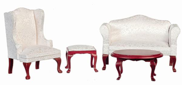 03161 - Living Room Set - White & Mahogany