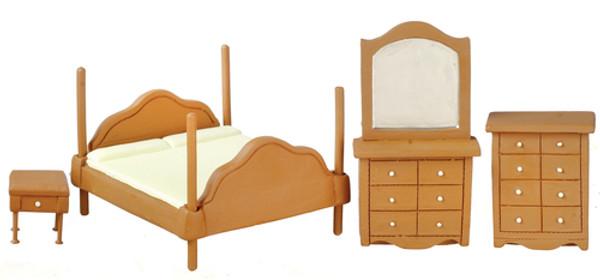 """T0273 - 1/2"""" Scale Walnut Bedroom Set"""