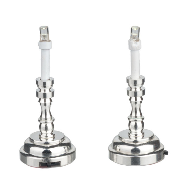 HW2346 - LED Pair of Silver Candlesticks