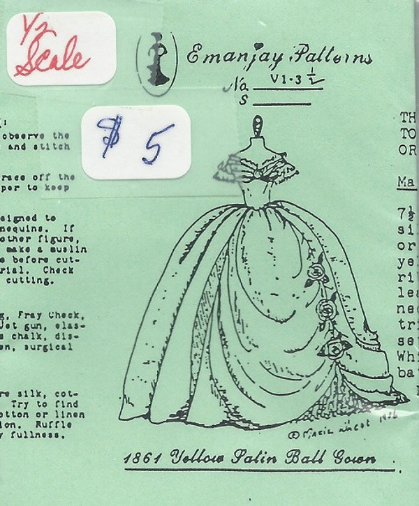 Half Scale VI-3  -1864 Satin Ball  Gown- Emanjay Sewing Pattern