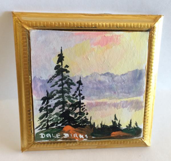 Dollhouse Miniature - 311423 - Painting - OOAK Hand Painted - Fir Trees on Ridge - Gold Frame