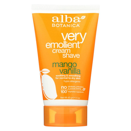 Alba Botanica Shaving Cream - Alba Cream Shave Mango Vanilla - 1.5oz. - Case Of 36 - 1.5 Oz.