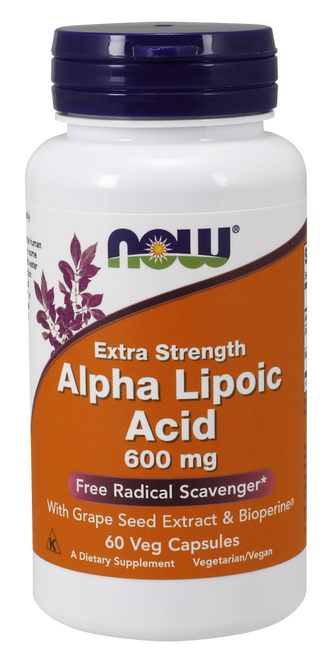 Alpha Lipoic Acid Extra Strength 600mg by NOW 60 Veg Capsules
