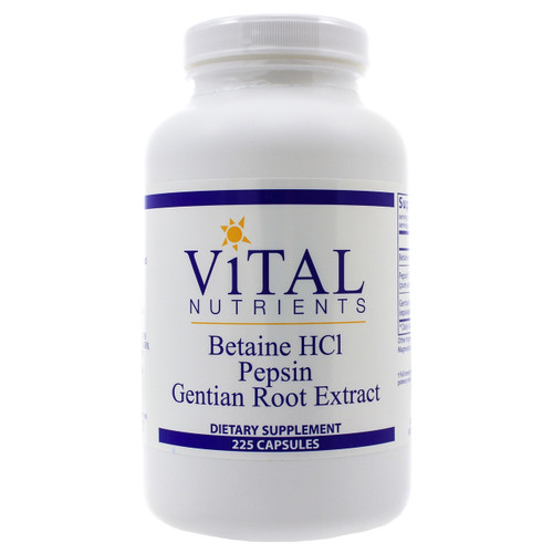 Betaine HCL Pepsin & Gentian Root Extract by Vital Nutrients 225 capsules